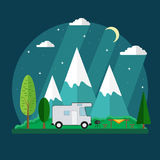 Campsite place in mountain at night. Forest camping landscape with traveler caravan in flat design Stock Photography