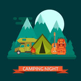 Campsite Place Night Landscape with Camper Van. Camping night concept landscape. Campsite place with camper van, tourist rucksack, guitar, campfire, forest Royalty Free Stock Image