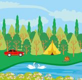 Campsite by the river. Vector Illustration royalty free illustration