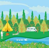 Campsite by the river. Vector Illustration stock illustration
