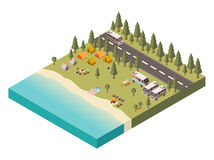 Campsite With Road Isometric Illustration. Campsite near lake with umbrella on beach bonfire and tourist gear transport and road isometric vector illustration Stock Image