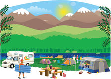 Campsite scene. A camp site scene of a typical camping site, including tents, camper van and people. E.P.S. 10 vector file included with image, isolated on white Stock Images