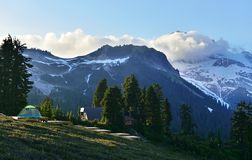 Campsite and shelter with Garibaldi Mountain in the background Royalty Free Stock Images
