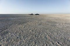 Campsite on Sua pan. scenic large flat area of salt pan desert,. Makgadikgadi Botswana africa royalty free stock photo