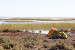 Campsite with Tent Royalty Free Stock Photography