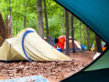 Campsite Through Tent Door Royalty Free Stock Photos