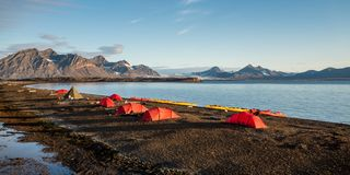 Campsite tents in Svalbard at midnight Royalty Free Stock Photo