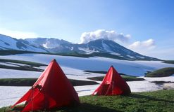 Campsite under Mutnovsky Volcano Stock Images