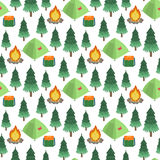 Campsite. Vector seamless pattern. Isolated on white background Royalty Free Stock Photography