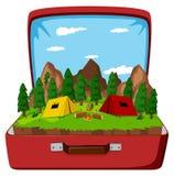 A campsite in the vintage bag. Illustration royalty free illustration