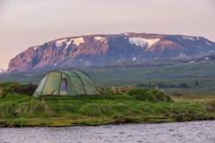 Campsite w Thingvellir, Iceland Zdjęcia Stock