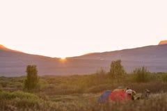 Campsite w Thingvellir, Iceland obraz stock