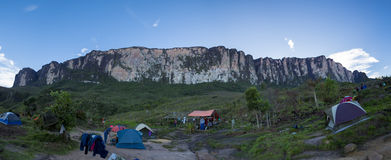 Campsite on the way to Roraima tepui, Gran Sabana, Venezuela. Panorama of campsite on the way to Roraima tepui at dawn with blue sky. Gran Sabana. Venezuela 2015 royalty free stock image