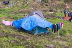 Campsite on the way to Roraima tepui, Gran Sabana, Venezuela. Campsite under the rain on the way to Roraima tepui at dawn with cloudy sky. Gran Sabana. Venezuela Stock Photography
