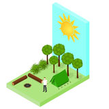 Campsite in the woods. Tent and logs around the campfire. Forest landscape. Isometric style. Tourist on vacation. Vector illustration vector illustration