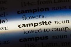 Campsite. Word in a dictionary.  concept stock photos