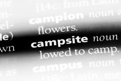 Campsite. Word in a dictionary.  concept stock photography