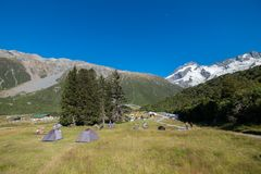 Many campsites are found in New Zealand royalty free stock photography