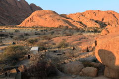 Campsites at the Spitzkoppe in Namibia. A Campsites at the Spitzkoppe in Namibia stock photos