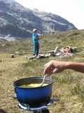 Campstove bei Basecamp stockfoto