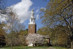 Campus Chapel. Chapel on a private college campus at springtime Stock Images