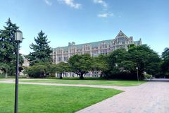 Campus de Seattle un temps clair ensoleillé images libres de droits