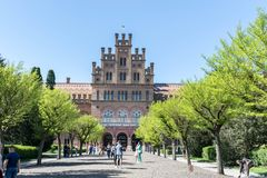 Campus hermoso de la universidad del nacional de Chernivtsi fotografía de archivo libre de regalías