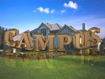 CAMPUS- inscription of bright gold letters on garden Stock Photos