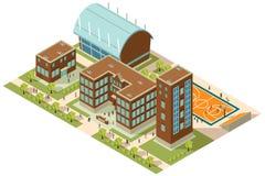 Campus isométrico de la universidad stock de ilustración