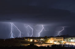 Campus Lightning. A thunderstorm advances on a community college campus Stock Photo
