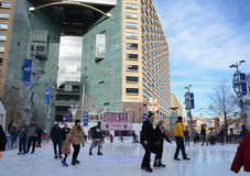Campus Martius skaters Royalty Free Stock Image