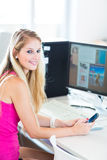 On campus - pretty, female student Royalty Free Stock Photography