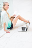 On campus - pretty, female student with books Royalty Free Stock Image