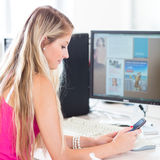 On campus - pretty, female student Stock Photography