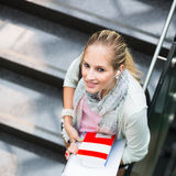 On campus - pretty, female student Stock Images