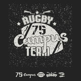 Campus rugby team emblem and icons Royalty Free Stock Image