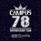 Campus rugby team emblem Royalty Free Stock Images