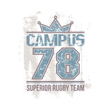 Campus rugby team emblem Royalty Free Stock Photos