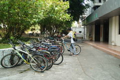 The campus of Shenzhen University, a college student and bicycle. In China Royalty Free Stock Photos