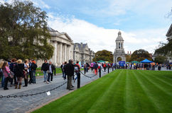 Campus of Trinity College Dublin. Welcome to new entrance of TCD (Trinity College Dublin). Celebration on campus of college from Monday 19th to Friday 23rd of Royalty Free Stock Images