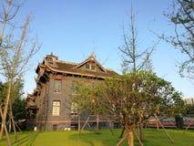 Campus universitario médico de Huaxi de la universidad de Sichuan, el builing de enseñanza de edificios viejos Foto de archivo libre de regalías