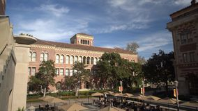 Campus of the University of Southern California. Los Angeles, DEC 2: High angle view of the Bovard Aministration, Auditorium of the University of Southern stock footage