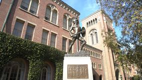 Campus of the University of Southern California. Los Angeles, DEC 2: Pan shot of the Bovard Aministration, Auditorium of the University of Southern California on stock footage