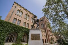Campus of the University of Southern California. Los Angeles, JUN 4: Tommy Trojan and Bovard Aministration, Auditorium of the University of Southern California Stock Photos