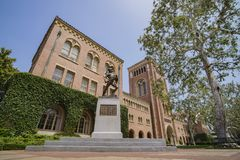 Campus of the University of Southern California. Los Angeles, JUN 4: Tommy Trojan and Bovard Aministration, Auditorium of the University of Southern California Stock Photo