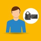 Caméra vidéo de concept de film d'homme de caractère Image stock