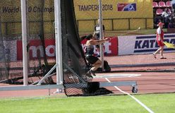 CAMRYN ROGERS from Canada win hammer throw final on the IAAF World U20 Championship Tampere, Finland 14 July, 2018. TAMPERE, FINLAND, July 14: CAMRYN ROGERS stock images