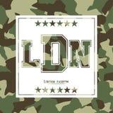 Camufle a tipografia para a roupa com rotulação de Londres, forma, LDN Tipografia para o t-shirt Foto de Stock Royalty Free