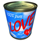 Can of 100 percent pure love 1 kg. Illustration of can with 1 kg of 100 percent pure love. Theme of love, valentine, business. Isolated on white background Royalty Free Stock Photography