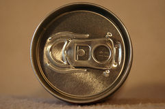 Can. A metal silver can with cool drink from top Stock Photo